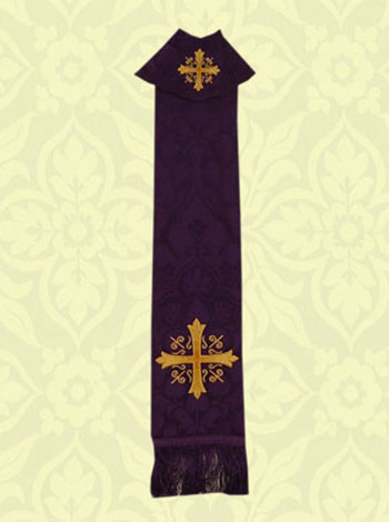 Illustrated in purple is our Stole Style 2831. This new design features a  high quality machine embroidered Greek cross with scroll work between the  arms.
